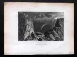 Brockedon Waldenses 1838 Antique Print. Col d'Haute Luce, Savoy, Switzerland